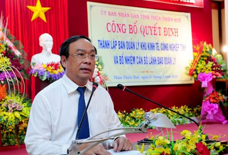 Công bố thành lập Ban Quản lý khu kinh tế, công nghiệp tỉnh Thừa Thiên Huế và bổ nhiệm cán bộ quản lý